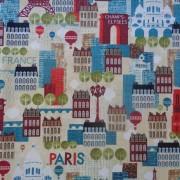 Bomullstyg stadsmotiv (Hello Paris)