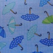 Bomullstyg blått paraply (Rainy Day)