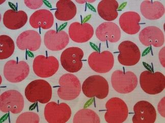 Bomullstyg röda äpplen (Fruity Friends)