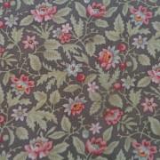 Bomullstyg grå/rosa blommor (Poetry Prints)