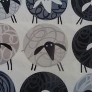 Bomullstyg grå-svarta får (Sheep Thrills)