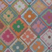 Bomullstyg med pastellfärgade blommor (Antwerp Flowers)