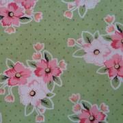 Bomullstyg grön/rosa (Flower Market)