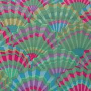 Bomullstyg grönt mönster (Paper Fans)