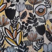 Bomullstyg svart blomma (Britta)
