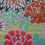 Bomullstyg röd-brun blomma (Dream)