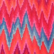 Bomullstyg rött sick-sackmönster (Flame Stripe)