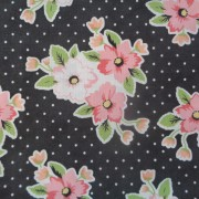 Bomullstyg svart/rosa blommor (Flower Market)