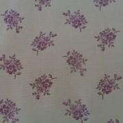 Bomullstyg gråbeige/lila blomma (Forget Me Not)