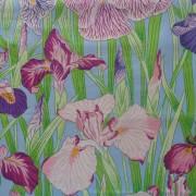 Bomullstyg blålila iris (Japanese Irises)