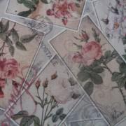 Bomullstyg rosor på vykort (La Concorde)