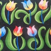 Bomullstyg svart/små tulpaner (Mini Tulips)