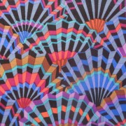 Bomullstyg svart mönster (Paper Fans)