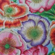 Bomullstyg rosa vallmo (Poppy Garden)