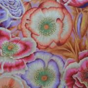 Bomullstyg orange vallmo (Poppy Garden)