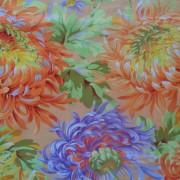 Bomullstyg aprikosfärgade blommor (Shaggy)