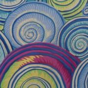 Bomullstyg blå snäckor (Spiral Shells)