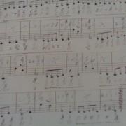 Bomullstyg mörkbruna noter (Symphony)