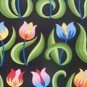 Bomullstyg svart/tulpaner (Tulips)
