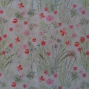 Bomullstyg vitt/blommor (Un Jour en Eté)