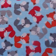 Bomullstyg turkos/rävar (Urban Zoologie Minis)