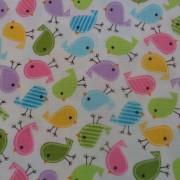 Bomullstyg vitt/fåglar (Urban Zoologie Minis)