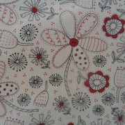 Bomullstyg naturvit/röd-svart blomma (Volume II)