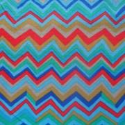 Bomullstyg blått mönster (Zig Zag)