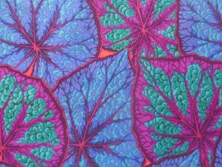 Bomullstyg blå-gröna blad (Begonia Leaves)
