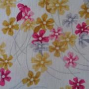 Bomullstyg rosa och gula blommor
