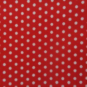 Bomullstyg rött/vit prick (Spot On)