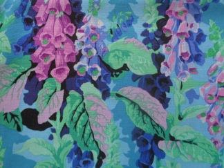 Bomullstyg blå-lila blommor (Fox Gloves)