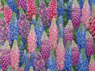 Bomullstyg blå-lila lupiner (Lupine)