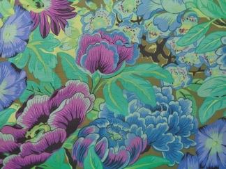 Bomullstyg lila-blå blommor (Lavina)