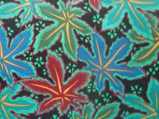 Bomullstyg svart/grönt blad (Lacy Leaf)
