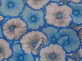 Bomullstyg blå blommor (Picotte Poppies)