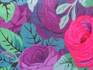 Bomullstyg lila rosor (Rambling Rose)