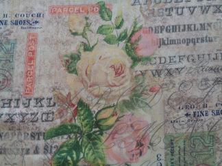 Bomullstyg text/rosor (Rose Parcel)