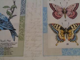 Bomullstyg fåglar, fjärilar och blommor (Vintage Journal Postcard Labels)