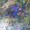 Bomullstyg blå-gröna stort blommönster (Wildwood Way)