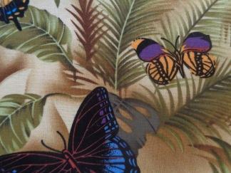 Bomullstyg beige/fjärilar (Rain)