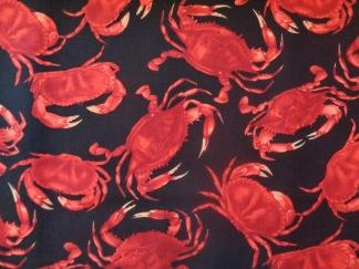 Bomullstyg svart/röda krabbor (Crab)