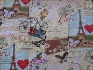 Bomullstyg parismotiv i färg (Paris)