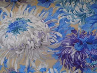 Bomullstyg blått blommönster (Shaggy)