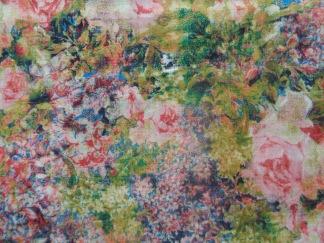 Bomullstyg multifärg blommor (Bouquet)