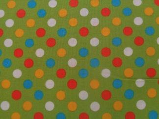 Bomullstyg Spot On grön-orange