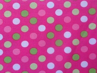 Bomullstyg Spot On rosa-grön