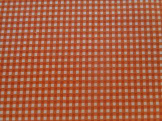 Bomullstyg orange/vit ruta (Gingham)