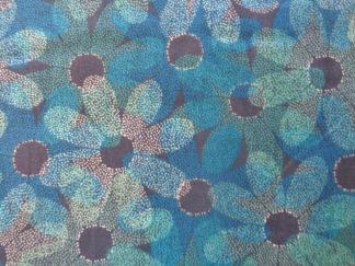 Bomullstyg blå blommor (Sundance)