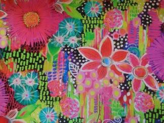 Bomullstyg mångfärgade blommor (Euphoria)